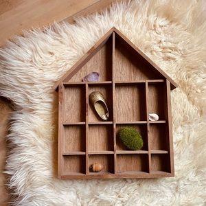 Vintage Wooden House Trinket Display Box Shelf